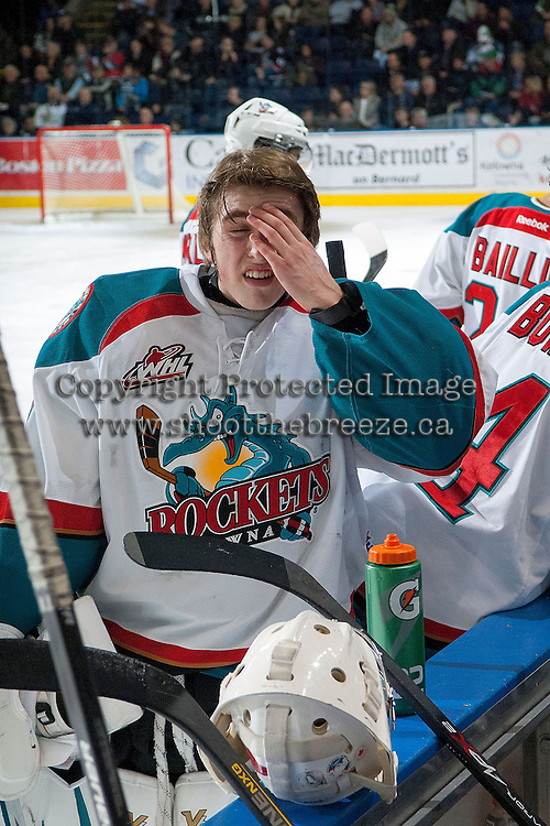 KELOWNA, CANADA -FEBRUARY 5: Jackson Whistle #1 of the Kelowna Rockets stands at the bench during time out against the Red Deer Rebels on February 5, 2014 at Prospera Place in Kelowna, British Columbia, Canada.   (Photo by Marissa Baecker/Getty Images)  *** Local Caption *** Jackson Whistle;