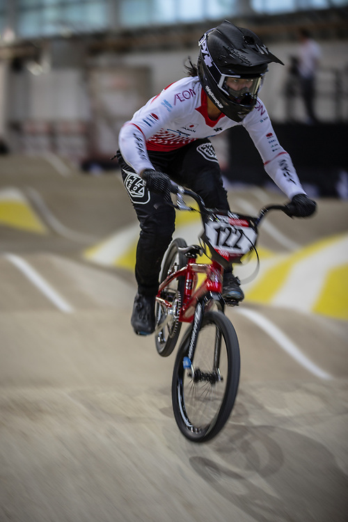 #122 (YABUTA Jui) JPN during practice at the 2019 UCI BMX Supercross World Cup in Manchester, Great Britain