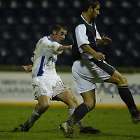 Raith Rovers v St Johnstone...29.11.03<br />Shaun Dennis can't prevent Peter MacDonald from firing home St Johnstone's fourth goal<br /><br />Picture by Graeme Hart.<br />Copyright Perthshire Picture Agency<br />Tel: 01738 623350  Mobile: 07990 594431
