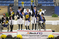 Team Great Britain Gold medal<br /> Christensen Sophie (GBR) - Rivaldo de Berkeley<br /> Dunham Anne (GBR) - Teddy<br /> Pearson Lee (GBR) - Gentleman<br /> Pitt Jo (GBR) Estralita<br /> Alltech FEI World Equestrian Games <br /> Lexington - Kentucky 2010<br /> © Dirk Caremans