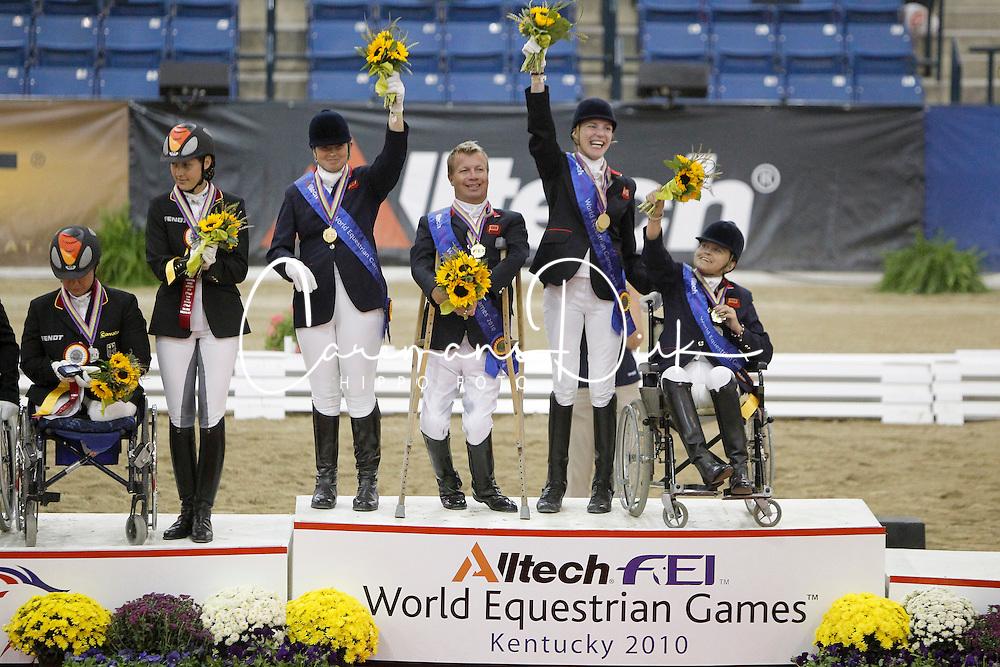 Team Great Britain Gold medal<br /> Christensen Sophie (GBR) - Rivaldo de Berkeley<br /> Dunham Anne (GBR) - Teddy<br /> Pearson Lee (GBR) - Gentleman<br /> Pitt Jo (GBR) Estralita<br /> Alltech FEI World Equestrian Games <br /> Lexington - Kentucky 2010<br /> © Dirk Caremans