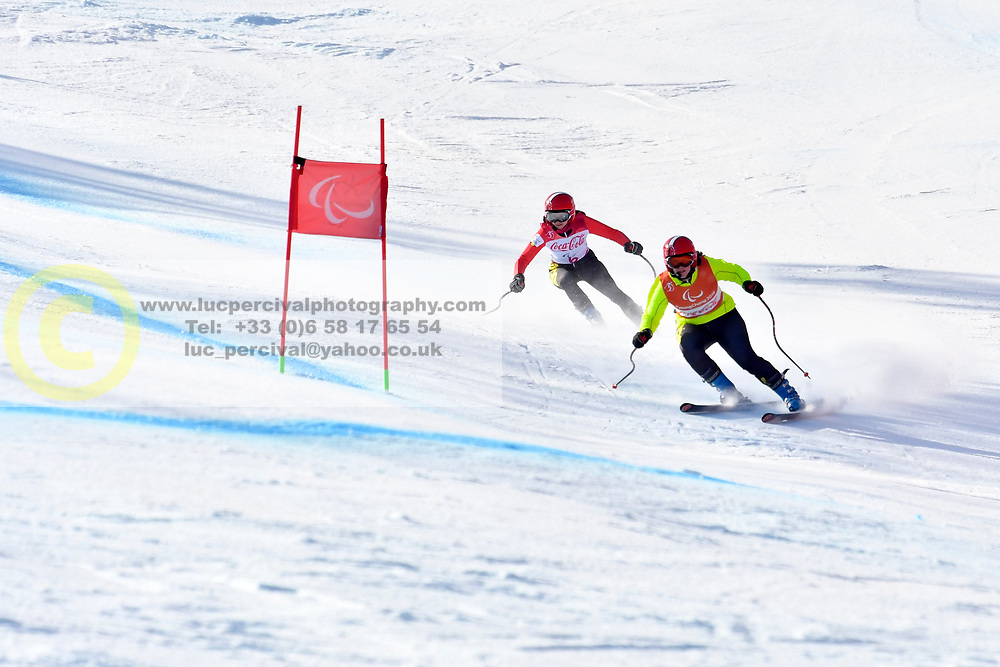 SANA Eleonor B2 BEL Guide: SANA Chloe competing in ParaSkiAlpin, Para Alpine Skiing, Super G at PyeongChang2018 Winter Paralympic Games, South Korea.