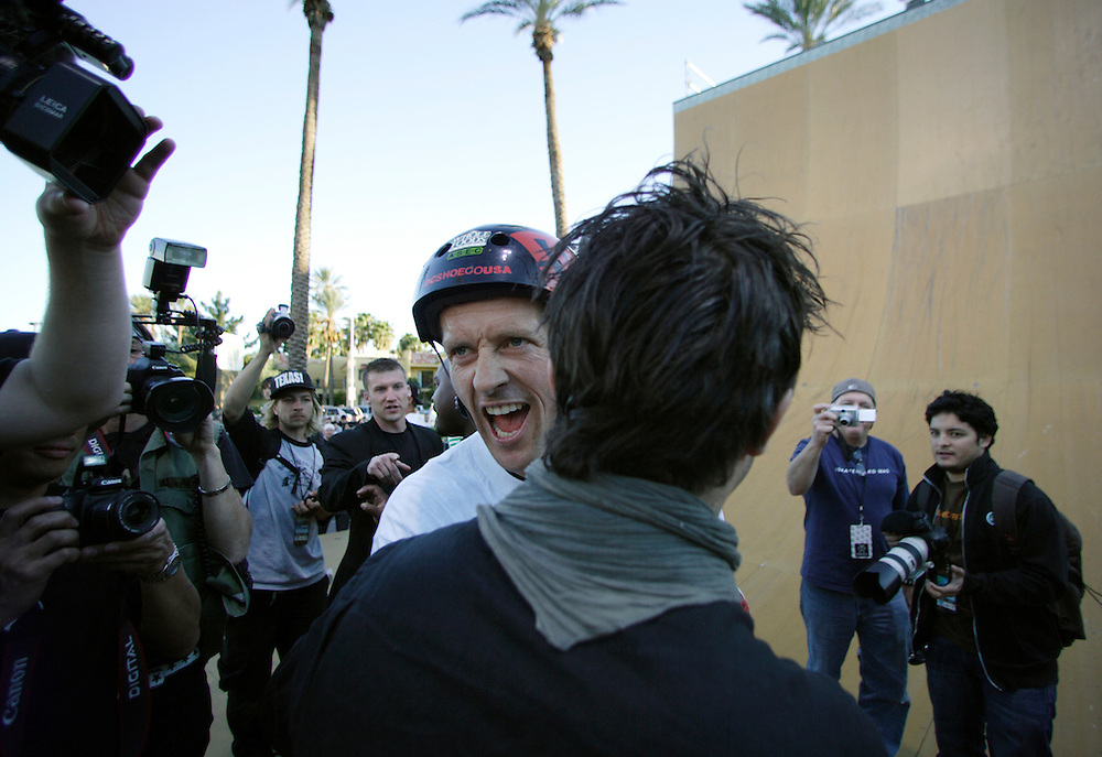 LAS VEGAS, NV, April 6 2006: Skateboarding pro Danny Way celebrates after setting a new Guinness World Record by jumping off the Fender Guitar at the Hard Rock Hotel in Las Vegas, Nevada on April 6, 2006. The record was for Freefall World Record on skateboard. He fell 28 feet and landed on a ramp. The geight of the drop from the guitar from the ground was 78 feet. Danny completed the trick twice. (Photo by Todd Bigelow/Aurora)