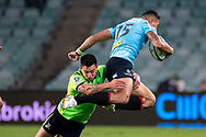 SYDNEY, NSW - MAY 19: Waratahs player Israel Folau just caught in the tackle at week 14 of the Super Rugby between The Waratahs and Highlanders at Allianz Stadium in Sydney on May 19, 2018. (Photo by Speed Media/Icon Sportswire)