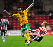 Southampton - Tuesday, September 30th, 2008: Joseph Mills  of Southampton is fouled by Lee Croft of Norwich City during the Coca Cola Championship match at Southampton. (Pic by Daniel Hambury/Focus Images)