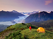 Alaska. Southeast. Juneau. Thunder Mountain overlooking the Mendenhall Glacier. A perfect camping site for hikers.