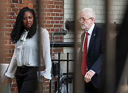 © Licensed to London News Pictures. 15/05/2019. London, UK. Labour Party leader Jeremy Corbyn (right) is seen with Dawn Foster MP (left) at the Houses of Parliament in Westminster, London. Government has announced that MPs will get another chance to vote on Theresa May's Brexit Bill in early June, after EU parliament elections. Photo credit: Ben Cawthra/LNP
