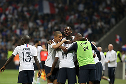 June 1, 2018 - Nice, France - Ousmane Dembl  celebrates after scoring with teammates during the friendly football match between France and Italy at Allianz Riviera stadium on June 01, 2018 in Nice, France. (Credit Image: © Massimiliano Ferraro/NurPhoto via ZUMA Press)
