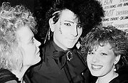A New Romantic, George, posing with two women, Bastille club, Bristol 1985
