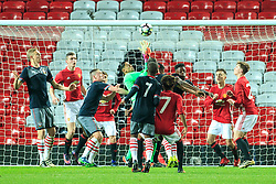 © Licensed to London News Pictures . 12/12/2016 . Manchester , UK . Scramble to save in front of the MUFC goal . Manchester United vs Southampton FA Youth Cup Third Round match at Old Trafford . Photo credit : Joel Goodman/LNP