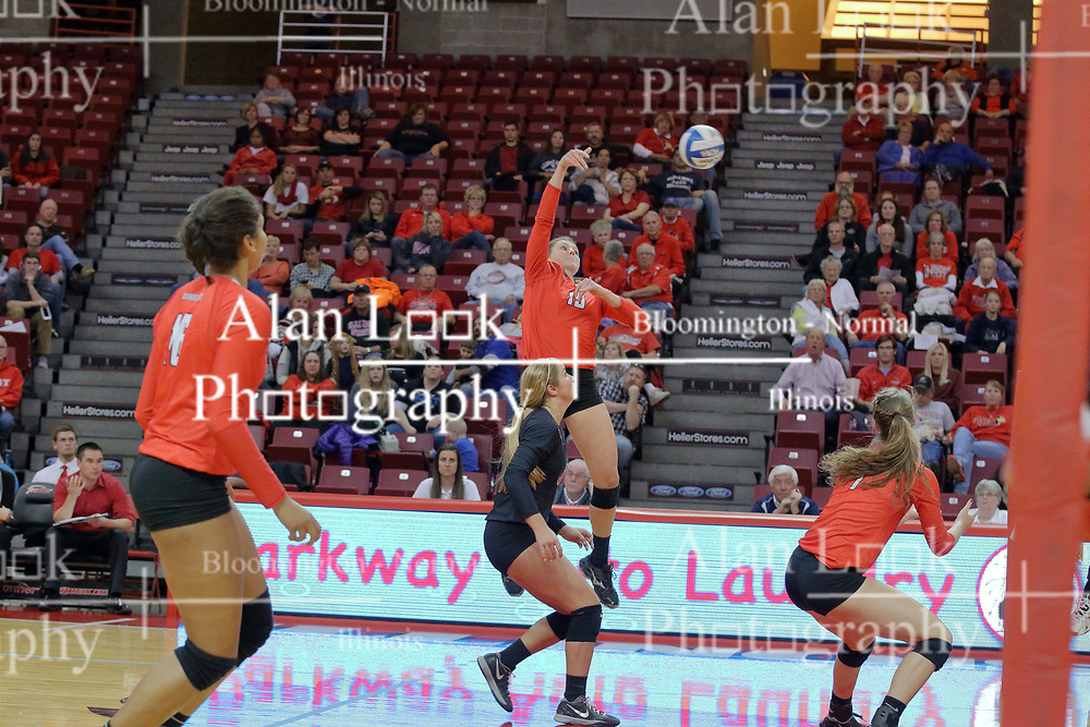 17 October 2015:  Ashley Rosch(15) strikes the ball over the net from the back row during an NCAA women's volleyball match between the Southern Illinois Salukis and the Illinois State Redbirds at Redbird Arena in Normal IL (Photo by Alan Look)