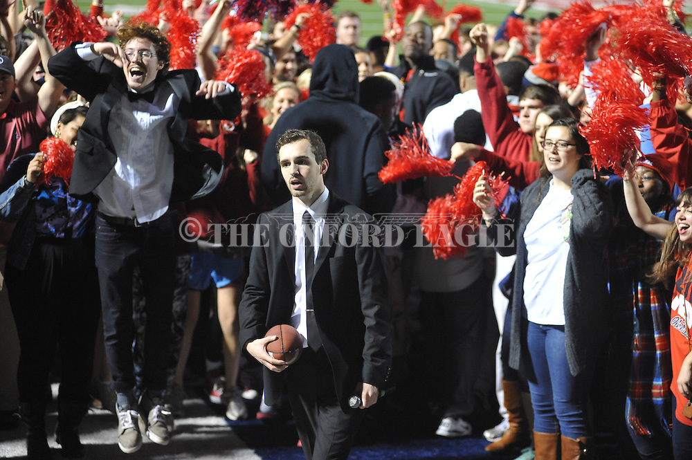 "Patrick Haadsma (right) and Blake Pruett act during filming of a new ""Feed Moncrief"" video at Vaught-Hemingway Stadium in Oxford, Miss. on Thursday, December 6, 2012."
