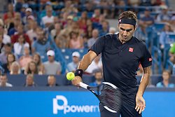 August 17, 2018 - Mason, OH, U.S. - CINCINNATI, OH - AUGUST 17:   Roger Federer of Sweden returns the ball to Stan Wawrinka of Switzerland during Day 6 of the Western and Southern Open at the Lindner Family Tennis Center on August 17, 2018 in Mason, Ohio. (Photo by Shelley Lipton/Icon Sportswire) (Credit Image: © Shelley Lipton/Icon SMI via ZUMA Press)