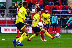 Lewis Travis of Blackburn Rovers gets the ball away from Will Vaulks of Rotherham United - Mandatory by-line: Ryan Crockett/JMP - 02/03/2019 - FOOTBALL - Aesseal New York Stadium - Rotherham, England - Rotherham United v Blackburn - Sky Bet Championship