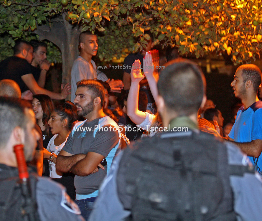 Police form a barrier at a Pro Palestinian Demonstration in Haifa, Israel was held on October 10, 2015 protesting the  Israeli security response to the terrorism and stabbings in Jerusalem, Israel and the west bank.