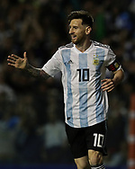 Argentina's Lionel Messi celebrates after scoring the team's second goal against Haiti during the international friendly football match at Boca Juniors' stadium La Bombonera in Buenos Aires, on May 29, 2018. (Alejandro PAGNI / PHOTOXPHOTO)