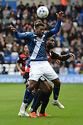 Birmingham City midfielder Jacques Maghoma  challenges for a header during the Sky Bet Championship match between Birmingham City and Queens Park Rangers at St Andrews, Birmingham, England on 17 October 2015. Photo by Alan Franklin.