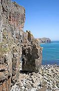 Carboniferous limestone cliffs St Govan's Head bay, Pembrokeshire national park, Wales