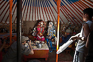 Mongolia. Ulaanbaatar. fashion and casting inside the yurt in Hundlun bulag with a family of cattle breeder,  near  Ulanbaatar -