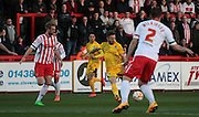Bristol Rovers no 10 Matty Taylor gets in an early shot in the Sky Bet League 2 match between Stevenage and Bristol Rovers at the Lamex Stadium, Stevenage, England on 19 April 2016. Photo by Nigel Cole.