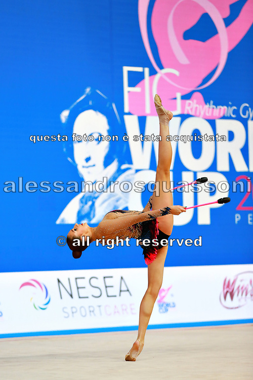 Harutyunyan Lilit during qualifying at clubs in Pesaro World Cup 2 April 2016. Lilit is an Armenian rhythmic gymnastics athlete born May 5, 1995 in Erevan, Armenia.