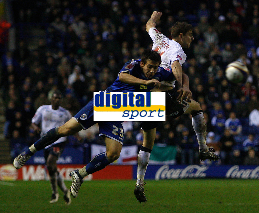 Photo: Steve Bond/Sportsbeat Images.<br /> Leicester City v West Bromwich Albion. Coca Cola Championship. 08/12/2007. Zoltan Gera (R) is challanged by Joe Mattock (L)