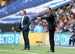 Plymouth Argyle Manager Derek Adams and AFC Wimbledon Manager Neal Ardley - Mandatory by-line: Robbie Stephenson/JMP - 30/05/2016 - FOOTBALL - Wembley Stadium - London, England - AFC Wimbledon v Plymouth Argyle - Sky Bet League Two Play-off Final