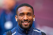 Jermain Defoe (#9) of Rangers FC is all smiles as he arrives before the Ladbrokes Scottish Premiership match between Heart of Midlothian and Rangers FC at Tynecastle Park, Edinburgh, Scotland on 20 October 2019.