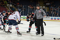 KELOWNA, CANADA - DECEMBER 5: Nolan Yaremko #22 of the Tri-City Americans faces off against Kyle Topping #24 of the Kelowna Rockets on December 5, 2018 at Prospera Place in Kelowna, British Columbia, Canada.  (Photo by Marissa Baecker/Shoot the Breeze)