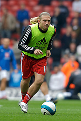 Liverpool, England - Sunday, October 7, 2007: Liverpool's Andriy Voronin warms-up before the Premiership match against Tottenham Hotspur at Anfield. (Photo by David Rawcliffe/Propaganda)