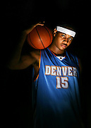 Denver Nuggets forward Carmelo Anthony hopes to shoulder the load heading into the NBA Playoffs and carry the team into the second round. Anthony, in his third year in the NBA, has had a spectacular regular season averaging in the top ten or better in a number of statistical categories and hopes to carry that momentum into the playoffs this year. Past playoff appearances have not been as kind to Anthony and he hopes to reverse that trend this year..(MARC PISCOTTY/ © 2006)