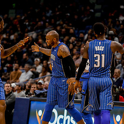 Oct 30, 2017; New Orleans, LA, USA; Orlando Magic forward Marreese Speights (5) celebrates with center Bismack Biyombo (11) after a basket during the second half of a game against the New Orleans Pelicans at the Smoothie King Center. Mandatory Credit: Derick E. Hingle-USA TODAY Sports
