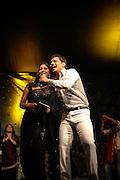 London 19/10/08: Diwali Celebrations light up Trafalgar Square. India's Pop Idol sensation Rahul takes to the stage with actress Sakshi Talwar