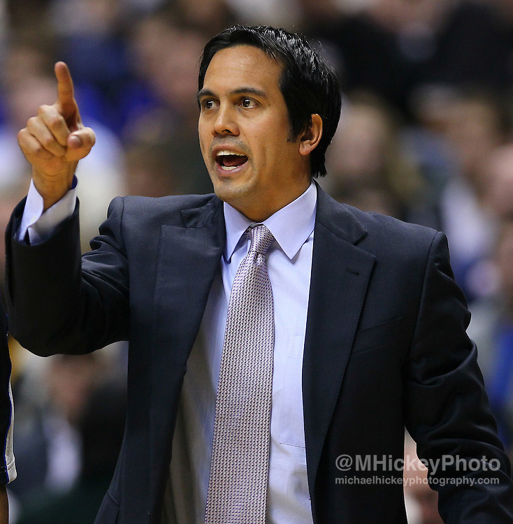 Feb. 15, 2011; Indianapolis, IN, USA; Miami Heat head coach Erik Spoelstra on the sidelines against the Indiana Pacers at Conseco Fieldhouse. Miami defeated Indiana 110-103. Mandatory credit: Michael Hickey-US PRESSWIRE
