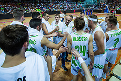 Team Slovenia during friendly basketball match between National teams of Slovenia and Italy at day 3 of Adecco Cup 2015, on August 23 in Koper, Slovenia. Photo by Grega Valancic / Sportida