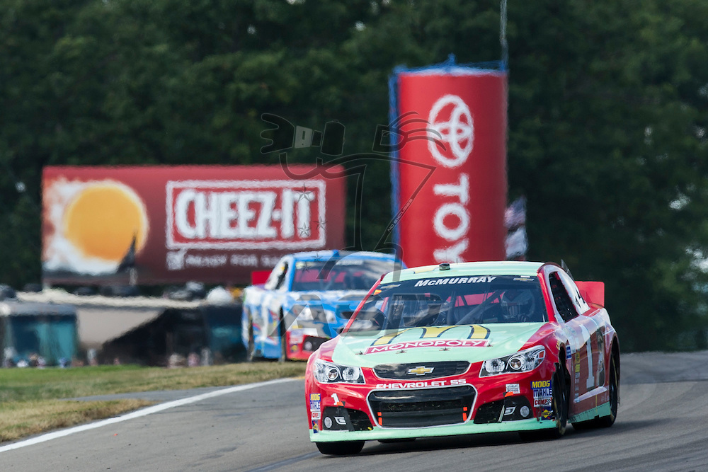 Watkins Glen, NY - AUG 11, 2013: The NASCAR Sprint Cup Series teams take to the track for the Cheez-It 355 at The Glen at the Watkins Glen International in Watkins Glen, NY.