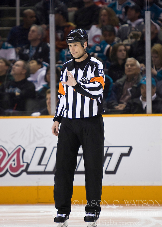 March 4, 2010; San Jose, CA, USA; NHL referee Chris Lee during the second period of the game between the San Jose Sharks and the Montreal Canadiens at HP Pavilion. San Jose defeated Montreal 3-2. Mandatory Credit: Jason O. Watson / US PRESSWIRE