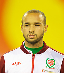 BRUSSELS, BELGIUM - Tuesday, October 15, 2013: Wales' Ashley 'Jazz' Richards lines-up before the 2014 FIFA World Cup Brazil Qualifying Group A match against Belgium at the Koning Boudewijnstadion. (Pic by David Rawcliffe/Propaganda)
