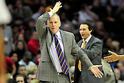 Feb. 27, 2011; Cleveland, OH, USA; Philadelphia 76ers head coach Doug Collins argues a call during the second quarter against the Cleveland Cavaliers at Quicken Loans Arena. Mandatory Credit: Jason Miller-US PRESSWIRE