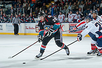 KELOWNA, CANADA, OCTOBER 16 - Myles Bell #29 of the Kelowna Rockets handles the puck against the Lethbridge Hurricanes on Wednesday, October 16, 2013 at Prospera Place in Kelowna, British Columbia (photo by Marissa Baecker/Getty Images)***Local Caption***