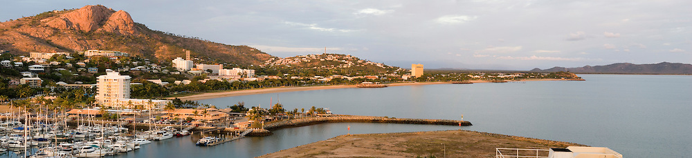 A panoramic view looking down from Jupiters Casino at the Townsville foreshore, with Castle Hill looming above.