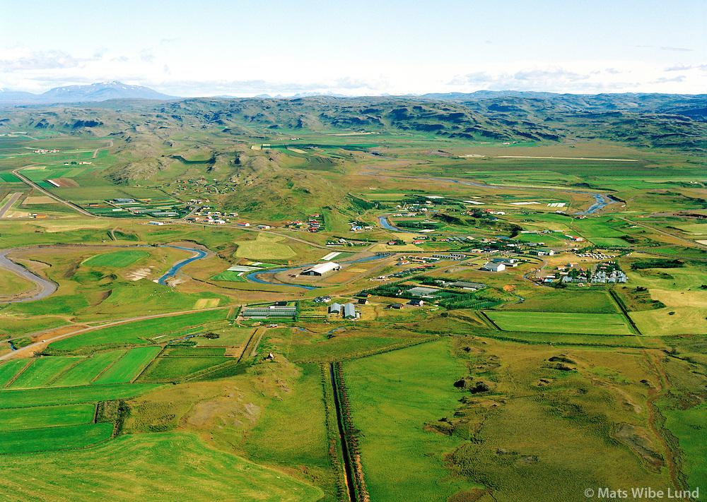 Flúðir séð til norðurs, Hrunamannahreppur / Fludir viewing north, Hrunamannahreppur.