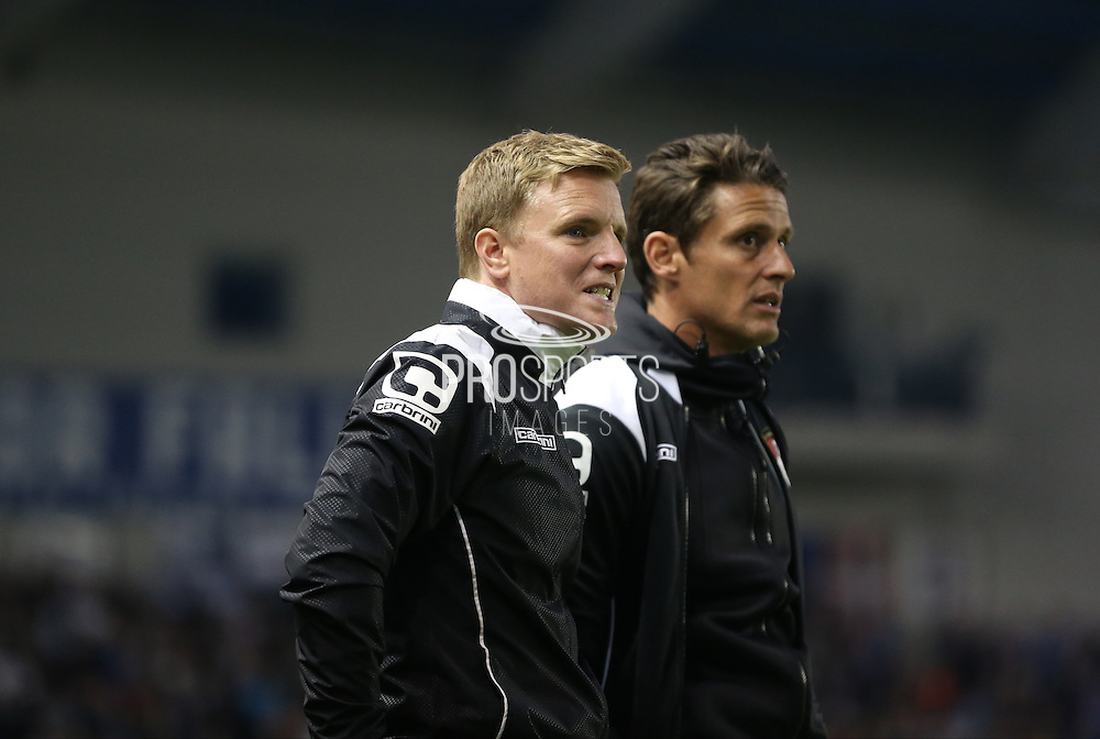 AFC Bournemouth first team manager Eddie Howe and AFC Bournemouth assistant manager Jason Tindall during the Sky Bet Championship match between Brighton and Hove Albion and Bournemouth at the American Express Community Stadium, Brighton and Hove, England on 10 April 2015.