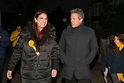 © Licensed to London News Pictures. 01/12/2019. London, UK. Actor and film producer, HUGH GRANT, joins Liberal Democrats' parliamentary candidate for Finchley & Golders Green, LUCIANA BERGER during canvassing in Finchley, North London, to bid to stop a Conservative majority and Stop Brexit. Photo credit: Dinendra Haria/LNP