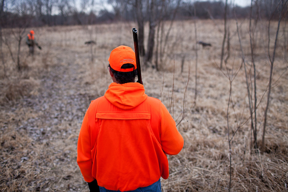 Republican presidential candidate Rick Santorum hunts for pheasants on Monday, December 26, 2011 in Adel, IA.