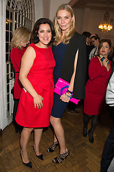 Left to right, EMMA FRANCE European Diretor of mothers2mothers and JODIE KIDD at a gala dinner to celebrate 15 Years of mothers2mothers hosted by Annie Lennox held at One Marylebone, 1 Marylebone Road, London NW1on 3rd November 2015.