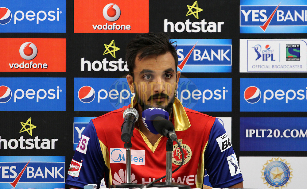 Royal Challengers Bangalore player Harshal Patel speaks during the press conference of the match 46 of the Pepsi IPL 2015 (Indian Premier League) between The Mumbai Indians and The Royal Challengers Bangalore held at the Wankhede Stadium in Mumbai, India on the 10th May 2015.<br /> <br /> Photo by:  Vipin Pawar / SPORTZPICS / IPL