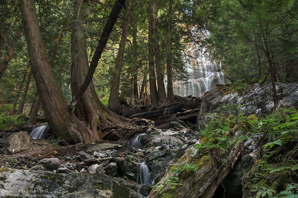 Small waterfalls on Bridal Creek in the forest below Bridal Veil Falls.  Photographed in Bridal Veil Falls Provincial Park in Chilliwack, British Columbia, Canada.