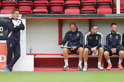 AFC Wimbledon manager Neal Ardley and the bench during the Pre-Season Friendly match between Ebbsfleet and AFC Wimbledon at Stonebridge Road, Ebsfleet, United Kingdom on 29 July 2017. Photo by Matthew Redman.