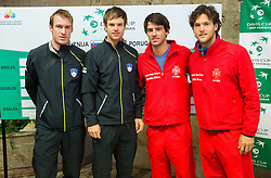 Grega Zemlja, Blaz Kavcic of Slovenia with  Gastao Elias  and Joao Sousa of Portugal during draw ceremony of Davis cup - Slovenia vs Portugal on January 30, 2014 in City Hall Kranj, Slovenia. Photo by Vid Ponikvar / Sportida